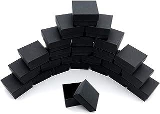 HIRAISM ギフトボックス アクセサリー ジュエリー 収納 正方形 5×5×3cm 無地 クラフト紙 24個セット (ブラック)