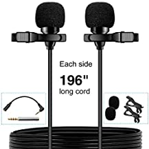 PoP voice Premium 16 Feet Dual-Head Lavalier Microphone, Professional Lapel Clip-on Omnidirectional Condenser Mic for Apple iPhone,Android,PC,Recording YouTube,Interview,Video Conference,Podcast