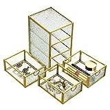 SUMTREE Caja de metal y cristal vintage con 3 capas, con tapa, para guardar joyas, anillos y pendientes, para el Día de la Madre y bodas, regalo de cumpleaños (rectangular, dorado)