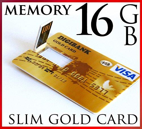 USB-Stick im ultradünnen Kreditkarten-Design, 16GB, USB 2.0, Goldfarben