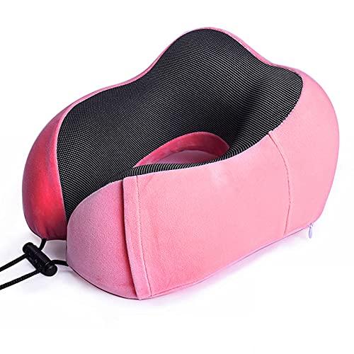 MONALA Almohada de viaje para el cuello de la espuma de la memoria Almohada del cuello en forma de U cómoda almohada portátil adecuada para avión, tren, coche, hogar, uso en la oficina rosa