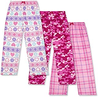 Image of 3 Pack Pink Fleece Pajama Pants for Girls - See more Patterns