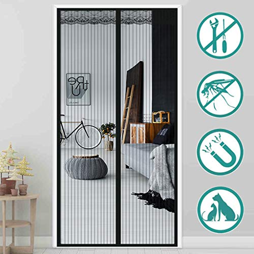 Aiyaoo Fliegengitter Tür Pendel 165x205cm lässt frische Luft hinei Automatisch Verschließen Petscreen Mehrere Größen für Holz Aluminium Türen - Schwarz