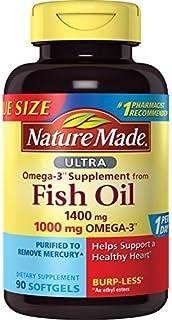 Nature Made Ultra Omega-3 Burpless Fish Oil 1400 mg Softgels w. Omega 3 1000 mg 90 Ct
