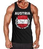 MoonWorks EM WM Tanktop Fanshirt Herren Fußball Österreich Flagge Austria Vintage Muskelshirt schwarz M