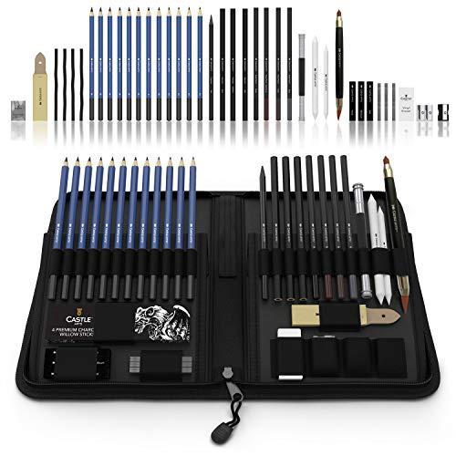 Castle Art Supplies Graphite Drawing Pencils and Sketch Set (40-Piece Kit), Complete Artist Kit...