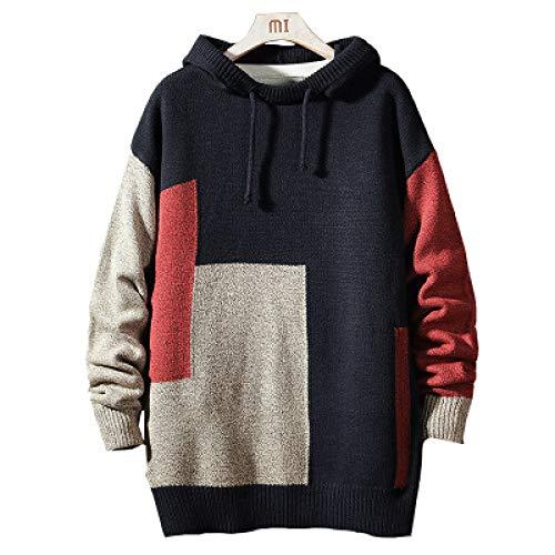 Wantess Kapuzenpullover mit Kordelzug für Herren Mittellanger Pullover mit Farbblockierung Große, personalisierte, lässige, warme Pullover 5X-Large