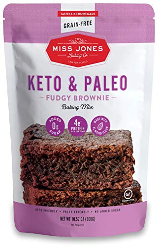 Miss Jones Baking Keto Brownie Mix  Gluten Free Low Carb No Sugar Added Naturally Sweetened Desserts and Treats  Diabetic Atkins WW and Paleo Friendly