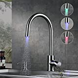 KINSE Rubinetto Cucina 360 °Girevole per Cucina Lavello Miscelatore Monocomando Lavabo Alto Acqua Fredda e Calda 3 colori LED RGB