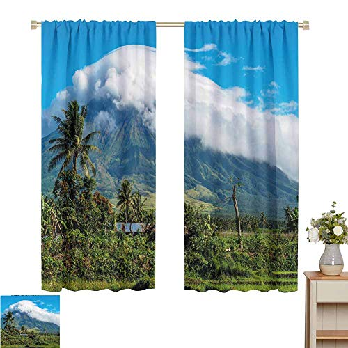 Petpany Blackout curtains 2 panels Volcano,Mayon Volcano Mountain Peak Surrounded with Clouds Greenery Landmark,Blue Green White,for Room Darkening Panels for Living Room, Bedroom 60' W x 84' L