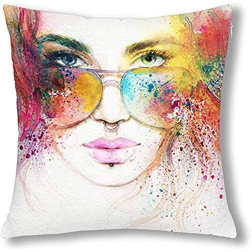 DayToy Abstracte mode vrouw met zonnebril portratief kussen kussensloop cover, vierkant kussen met ritssluiting