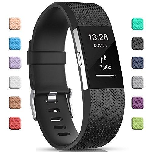 Gogoings Kompatibel mit Fitbit Charge 2 Armband Original Schwarz, Silikon Verstellbares Ersetzerband Damen Herren Uhrenarmband Armbänder für Fitbit Charge2 Fitness Zubehör Groß