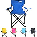 just be... Chaise de Camping Pliable Bleu avec des Bords Noirs