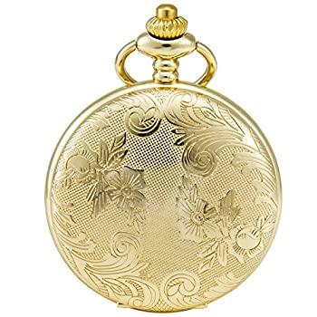 SEWOR Bronze Flowers Vintage Quartz Pocket Watch Shell Dial with Two Type Chain Leather+Metal   Gold