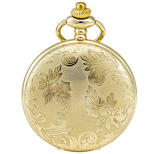 SEWOR Blumen Fall Shell Zifferblatt Japanisches Quarz-Uhrwerk Taschenuhr mit Fashion Double Kette (Metall & Leder) (Gold)