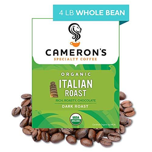 italian coffees Cameron's Coffee Roasted Whole Bean Coffee, Organic Italian Roast, 4 Pound