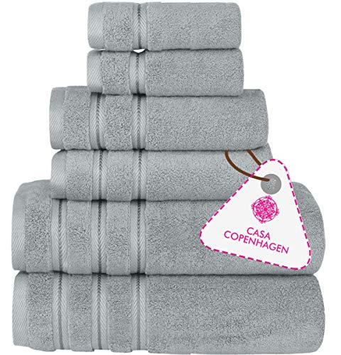 CASA COPENHAGEN Bella Luxury Hotel & Spa, set di 6 asciugamani turchi in cotone 600 g/mq, include 2 asciugamani da bagno, 2 asciugamani per le mani, 2 salviette, colore: Grigio