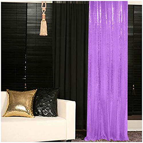 ShinyBeauty Backdrop for Pictures 2FTx7FT-2Pack Sequin Curtain Backdrop 2 Panels Lavender Shimmer Backdrop N1026