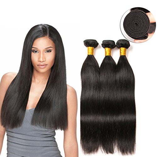 Straight Hair Bundles Peruvian Hair Extensions Unprocessed Virgin Remy Remi Human Hair Extension Weave Weft Cheap Natural Color (10 12 14 Inches)