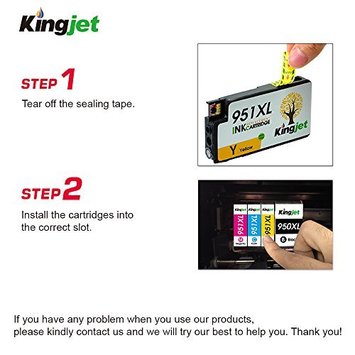 KINGJET Compatible Ink Cartridge Replacement for 951, 951XL Work with Officejet Pro 8100 8600 8610 8615 8620 8625 8630 Printers, (2Magenta, 2Cyan, 2Yellow) Photo #9