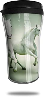 FTRGRAFE White Horse Hd Wallpapers Travel Coffee Mug 3D Printed Portable Vacuum Cup,Insulated Tea Cup Water Bottle Tumblers for Drinking with Lid 8.54 Oz (250 Ml)