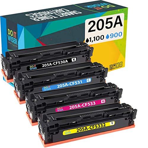 Do it Wiser- Cartuchos de Tóner CF530A 205A Compatibles para Usar en Lugar de HP Color Laserjet Pro MFP M180n MFP M181fw MFP M180 MFP M180nw MFP M154a CF530A CF531A CF532A CF533A (Pack de 4)