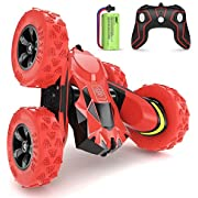 SGILE 4WD Remote Control Car for 6-12 Years Old Kids, 360° Double Side Flips RC Stunt Car Birthday Toy Gift, Red