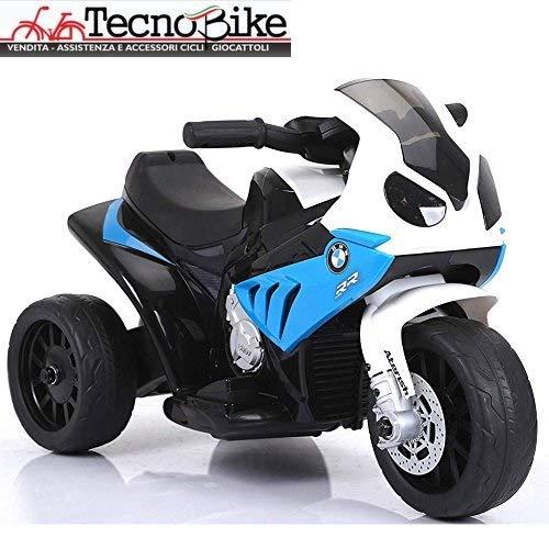 Tecnobike Shop Moto Motocicletta Elettrica per Bambini BMW S 1000 RR Batteria 6V Ricaricabile Triciclo 3 Ruote Fari Funzionanti con Luci e Suoni (Blu)