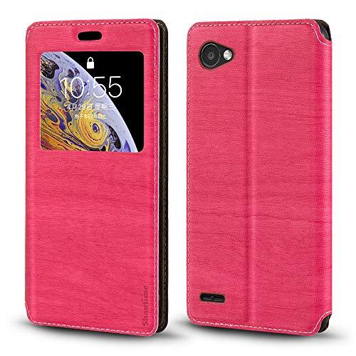 Capa para LG Q6, capa de couro de grão de madeira com porta-cartão e janela, capa flip magnética para LG Q6 Plus