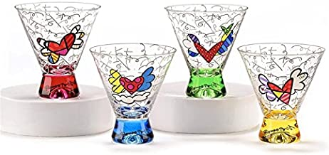 Romero Britto Short Martini Glass Set (4 Assorted Colors: Blue, Yellow, Pink, Green)