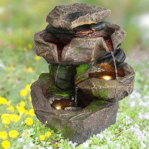 AMUR 230V Gartenbrunnen Brunnen Zierbrunnen Zimmerbrunnen Brunnen Springbrunnen Vogelbad Stein-Kaskade Schwarzwald mit LED-Licht Wasserfall Wasserspiel für Garten, Gartenteich, Terrasse