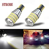 iBrightstar Newest 9-30V Flashing Strobe Blinking Brake Lights 912 921 W16W T15 906 LED Bulbs with Projector replacement for Back Up Reverse Lights | Tail 3rd Brake Stop Lights, Xenon White