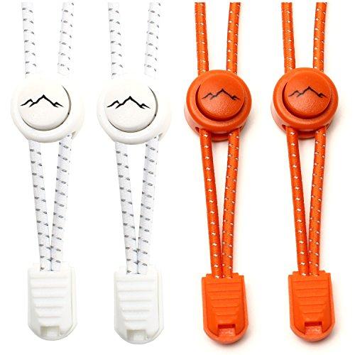 gipfelsport Elastische Schnürsenkel mit Schnellverschluss - Gummi Schnellschnürsystem ohne Binden | Schnürsystem für Kinder, Herren, Damen I 2X Paar: weiß/orange