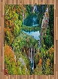 ABAKUHAUS Otoño Alfombra de Área, Caída Escénica Lagos del Valle, Tejida Acento Decorativo para Sala de Estar o Dormitorio, 160 x 230 cm, Verde Azul Naranja