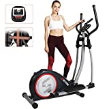 SNODE Magnetic Elliptical Trainer Exercise Machine Heavy Duty Cross Crank Driven and Programmable Monitor for Home Fitness Cardio Training Workout