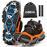 OEEIA Crampons, Ice Cleats Traction Snow Grips for Boots Shoes Women Men Kids, Upgraded Anti Slip 24 Stainless Steel Spikes Safe Protect for Hiking Fishing Walking Climbing Mountaineering
