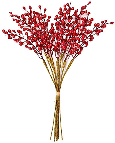 Efivs Arts Artificial Red Berry,8 Pack Holly Christmas Berries Stems for Christmas Tree Decorations, Crafts, Holiday and Home Decor (red)