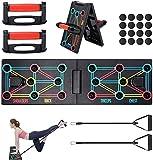 shoplease Push Up Rack Board, 12 en 1 Tabla de Flexiones Plegable, Push Up Board Multifuncional con Asas y Bandas de Resistencia para Ejercicios en el Hoga