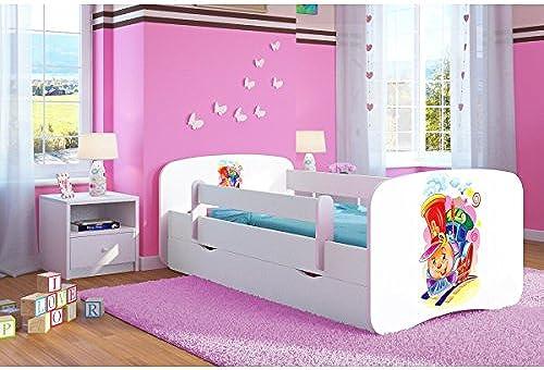 CARELLIA 'Kinderbett ciuchcia 70 140cm   mit Barriere Sicherheitsschuhe + Lattenrost + Schubladen + Matratze Ofürt. Weiß