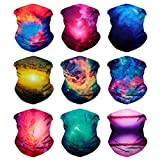 SoJourner 9PCS Seamless Bandanas Face Mask Headband Scarf Headwrap Neckwarmer & More – 12-in-1 Multifunctional for Music Festivals, Raves, Riding, Outdoors(Many Designs) (9PCS Galaxy Series 1)
