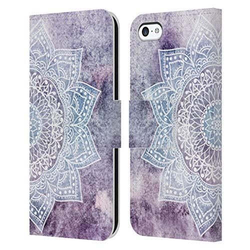 Head Case Designs Licenza Ufficiale Nika Martinez Porpora Intenso Mandala Cover in Pelle a Portafoglio Compatibile con Apple iPhone 5c