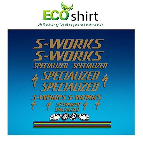 Ecoshirt MT-7JZG-HGA2 Aufkleber S Works Specialized Sticker Decals Aufkleber R84 Gold