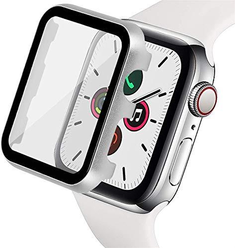 ZAALFC Para Apple Watch 5D - Carcasa de vidrio templado de 38 mm, 40 mm, 42 mm, 44 mm, bordes de marco Serie 7/SE/6/5/4/3/2/1 (color: plata, tamaño: 44 mm)