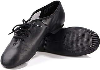 DANCEYOU Zapatos de Baile de Jazz con Cordones Zapatos de Danza Modern Suela Cuero para Niños y Adultos