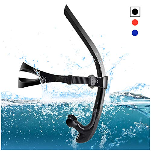 TangyueW Swim Snorkel, One-Way Purge Valve Swimmers Snorkel for Lap Swimming Training Snorkeling, Front Mounted Training Gear with Comfortable Silicone Mouthpiece (Blank)