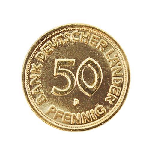 Echte 50 Pfennig-Münze von 1968 vergoldet zum Geburtstag im Schwebe-Rahmen mit Ihrer persönlichen Gravur