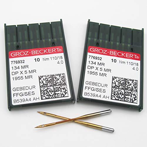 GROZ-BECKERT Needle in CKPSMS Clear Plastic Box-20 Groz Beckert 134MR 1955MR DPX5MR Long-Arm Quilting Machine Needles (20PCS Groz-Beckert-134MR 21/130)