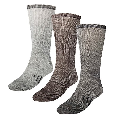3 Pairs Thermal 80% Merino Wool Socks Thermal Hiking Crew Winter Mens Womens Kids, Black/Brown/Grey, Small  (Child's 1-3.5, Women's 3-5.5)