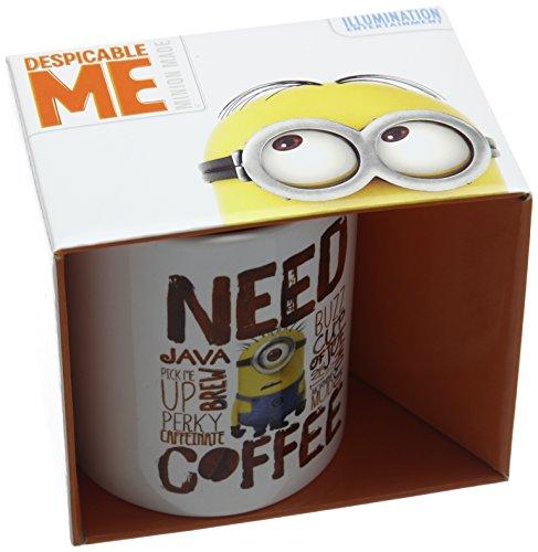 Pyramid International Need Coffee Keramikbecher, Keramik, Mehrfarbig, 8.5 x 12 x 10.5 cm