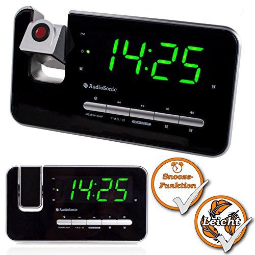 Projectieklok, wekkerradio, wekker, projectie-wekker, digitale dimmer-functie, slaaptimer